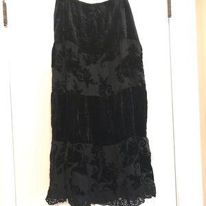 CHICO'S tiered velvet lace boho skirt
